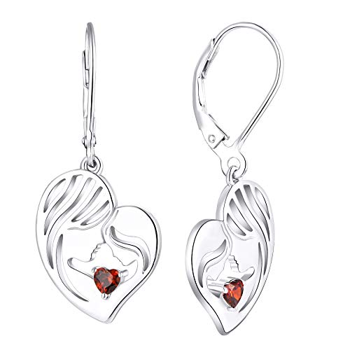 YL Pendientes Madre e Hija Plata de Ley 925 Pendientes Colgantes con Forma de Corazón de Granate para Mamá Mujer