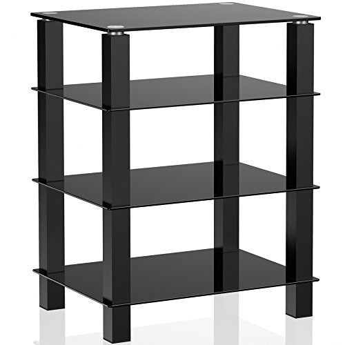 Fitueyes 4-Tier Media Stand Audio/Video Component Cabinet with Glass Shelf for /Apple Tv/Xbox One/ps4 AS406002GB