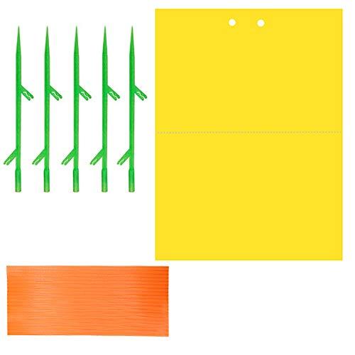 Panngu Fliegenfalle Hängende und Steckbare Gelbtafeln Gelbsticker, Beidseitig Gelbfalle Gewächshaus, Gelbe Fliegenfalle Sticker Perfekt gegen Ungeziefer, Zuhause Pflanze Gegen Trauermücken - 20 Stück