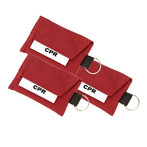 3 Pack CPR Face Mask Key Chain Kit with Gloves | One Way Valve Face Shield Mask, First Aid Kit by AsaTechmed || for Travel, Home, Office, Boat, Car, EMS, Firefighters, Nurses, First Responders (Red)
