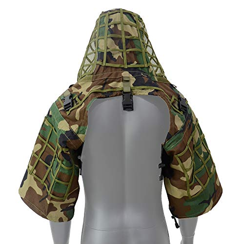 LytHarvest Sniper Ghillie Suit Foundation, Ripstop, Camouflage Tactical Ghillie Hood (Woodland)