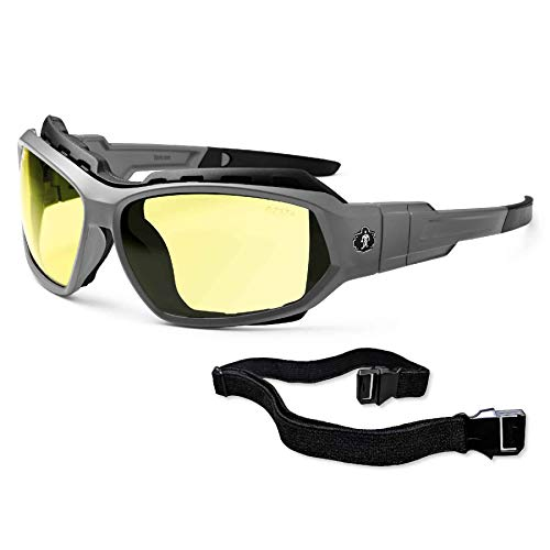 Ergodyne Skullerz® Loki Safety Glasses // Sunglasses, Matte Gray, Yellow Lens