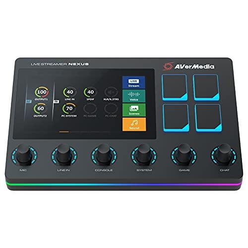AVerMedia LIVE STREAMER NEXUS AX310 オーディオミキサー & 配信者向けコントロールセンター DV602