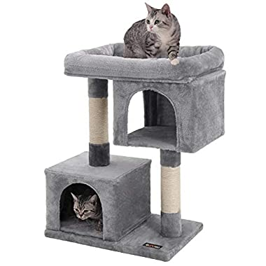 SONGMICS Cat Tree with Sisal-Covered Scratching Posts and 2 Plush Condos Cat Furniture for Kittens Light Gray UPCT61W