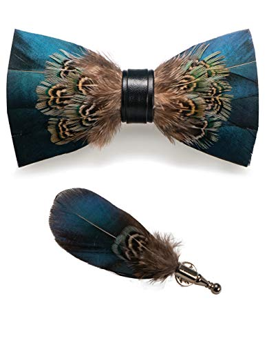 "Material: recycle feathers and 100% leather Size:2.75"" (7cm) wide and 4.72"" (12cm) long Package include:bow tie+brooch The bow tie is packed in a beautiful gift wooden box and has a unique design that makes you stand out in every situation. Refund: Y..."
