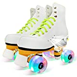 大人のためのクワッドローラースケート–女性のレースアップハイトップローラーブーツ,38