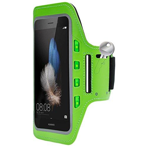 MOBILEFOX Handytasche Sport Armband mit LED-Licht & Schlüsselfach Sweatproof für 6,0 Zoll Huawei P8 Lite Grün - Joggen Schutzhülle Smartphone Halter