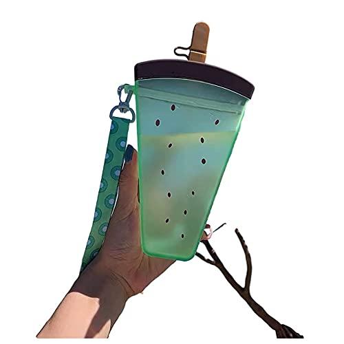 AJDGL Lindas Botellas de Agua con pajitas - Botella de Agua de plástico Creativa Botella de Agua con Helado de sandía Adecuado para Exteriores, Camping, Deportes,Green Kiwi