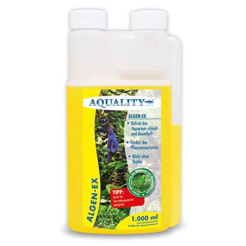 AQUALITY Aquarium Algen-EX (Erstklassiger Algenvernichter, Algenmittel, Algenentferner, Algenstopp - Befreit Fadenalgen, Bartalgen, Kieselalgen, Blau- + Schmieralgen), Inhalt:1 Liter