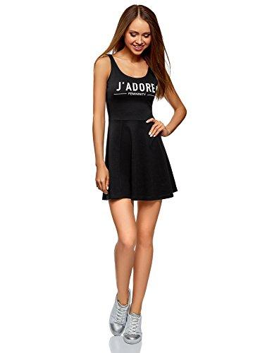 oodji Ultra Damen Trägerkleid mit Ausgestelltem Rock, Schwarz, XL