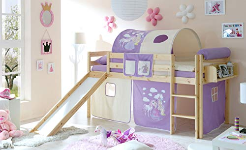 lifestyle4living Hochbett für Kinder in lila-beige-braun mit Rutsche, Vorhang im Prinzessin Motiv   Spielbett aus Kiefer Massivholz mit Einer Liegefläche 90x200 cm