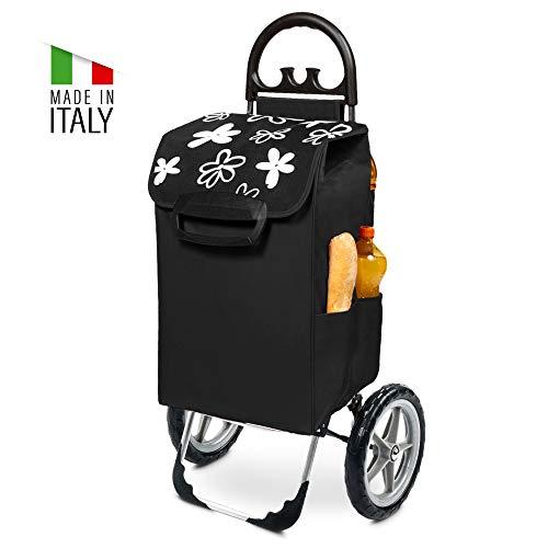 Kiley Einkaufstrolley XXL schwarz mit Blumendesign & großen Rädern - Einkaufswagen klappbar bis 50kg belastbar 78 Liter Volumen