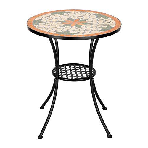 Artisasset - Juego de mesa y silla de cerámica con incrustaciones de hoja de arce (mesa redonda de 28 pulgadas de altura), color beige