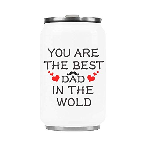 Stainless steel straw thermos cup You are the best dad in the world10.3 ounces coffee cup