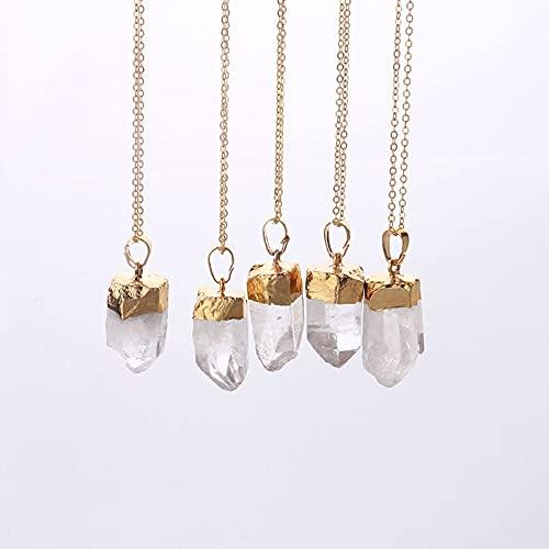 Minyose Boho Chic Raw Clear Crystal Hexagon Colgante Reiki Punto de curación Chakra Colgante Oro Color Cuarzo Piedra Pico Collar para Regalos