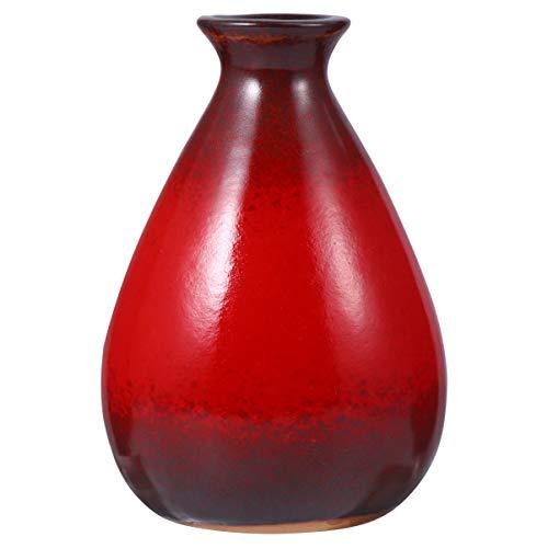 Nbrand Mini Vase en Céramique Petit Vase en Céramique Rouge Ornements Vase à Fleurs Sèches Décoration de Bureau pour Les Décorations de Fête à La Maison