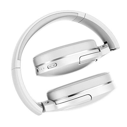 Headset Wireless Headset Sport Bluetooth 5.0 Headset Freisprech-Headset Earplugs Head-Mounted Tragbarer Sport im Freien Headset (Color : White)