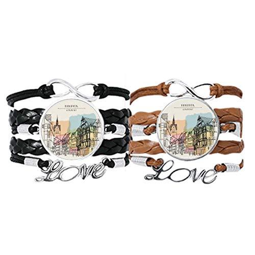 DIYthinker City Germany Hannover Landschaft Armband Handschlaufe Leder Seil Armband Doppelset Geschenk
