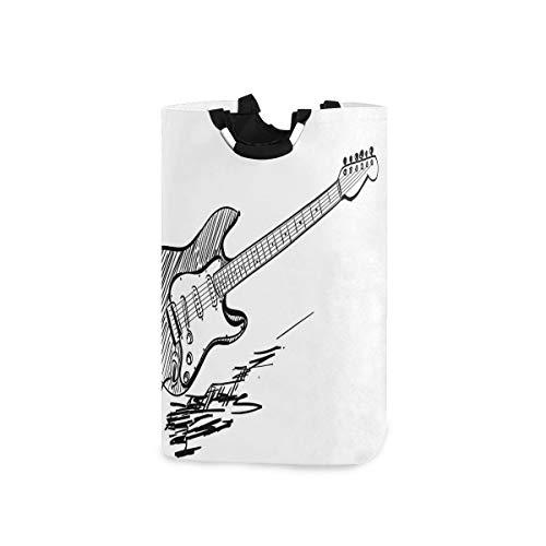 DYCBNESS Cesto para la Colada,Guitarra eléctrica de Estilo Dibujado a Mano sobre Fondo Blanco, acordes de música Rock, boceto de Arte,Cesta de lavandería Plegable Grande,Papelera de Lavado Plegable