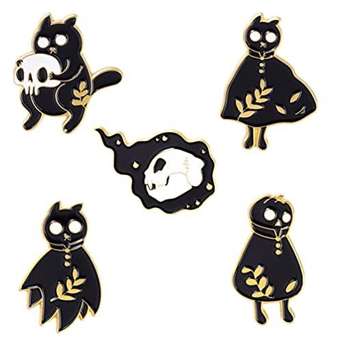 Holibanna 5 Piezas Broche de Halloween Pin Calavera Fantasma Patrón Pins de Pecho Esmalte de Halloween Insignias Ropa Decoración para Regalos de Fiesta de Halloween