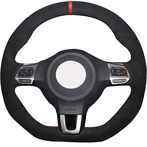 ZYTB Para el Volante del Coche Negro Cosido a Mano Cubierta para Volkswagen Golf 6 GTI Mk6 VW Polo GTI Scirocco R Passat CC R-Lin