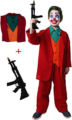 Gojoy shop-Disfraz y Pistola de Joker Payaso Asesino para Niños Carnaval Halloween (Contiene Pistola, Cuello, Chaleco con Chaqueta y Pantalón, 4 Tallas Diferentes) (7-9 años)