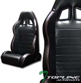 Topline Autopart Universal 2X SP Sport Style Black PVC Leather Red Stitch Reclinable Racing Bucket Seats with Slider