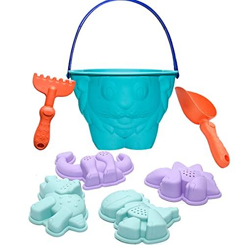 Holady 7 Stück Weichplastik Lion Beach Toys Badespielzeug für Kinder, Sandspielzeug Eimer Rechen Schaufel Set, Strand Dinosaurier Anzug Formen Wasserspielzeug