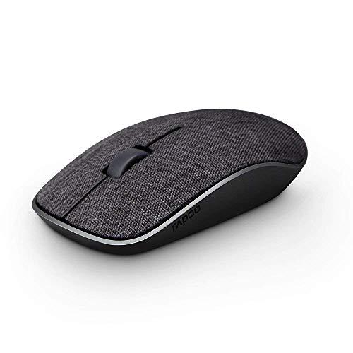 [ブランド保証]RAPOO 2.4Gワイヤレス マウス ファブリック ポータブル モバイル 光学マウス(ノートブック、PC、ノートパソコン、 タブレット、コンピュータ、Mac、33フィート動作距離、1000 DPIレベル、12ヶ月バッテリ寿命 (ブラック)