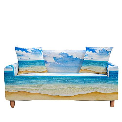 Surwin Funda de Sofá Elástica para Sofá de 1 2 3 4 plazas, Antideslizante Impresión Universal Cubierta de Sofá Cubre Cover Moda Sofá Funda Furniture Protector (Playa,1 Plaza - 90-140cm)