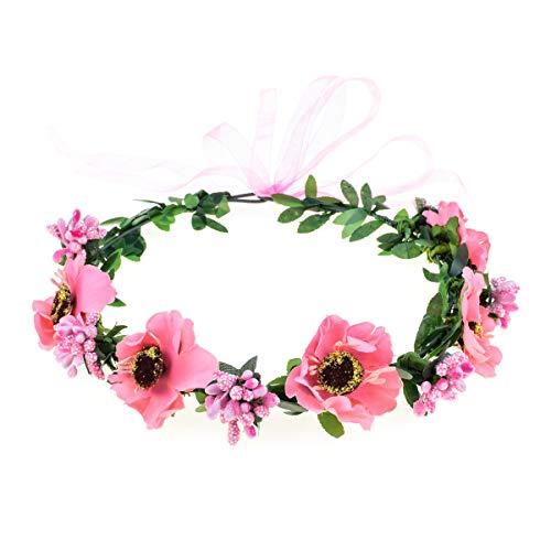 June Bloomy Rose Floral Crown Wreath Girls Flower Headband Boho Garland Halo Headpiece (Daisy Pink)