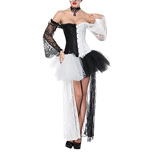 Ropa de Ceremonia y Eventos para Mujer Largo Fiesta Elegante Ropa Falda Sexy Ajuste Fino Otoño Y2K Vintage Punk Ajustado sin Vestido Retro Corset Top para Halloween (White Black, Medium)