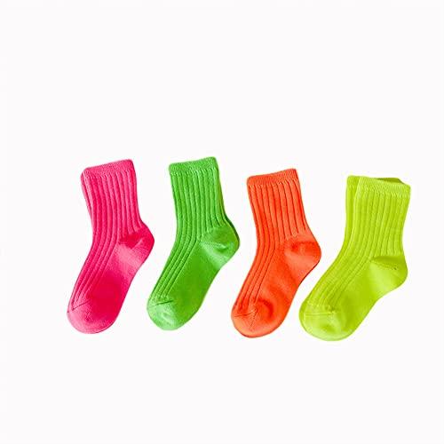 GCHBST 4 Pares De Calcetines para Niños Caramelo De Color Brillante Color De Algodón Doble Aguja Algodón Hombres Y Mujeres Calcetines De Bebé,2,5/8 Years