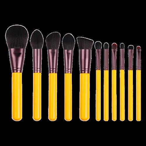 Heng 11 pcs Maquillage Pinceau-Jaune série synthétique Cheveux brosses pour Les Yeux Stylo cosmétique Cheveux artificiels beauté débutant Outil, 11 pcs brosses