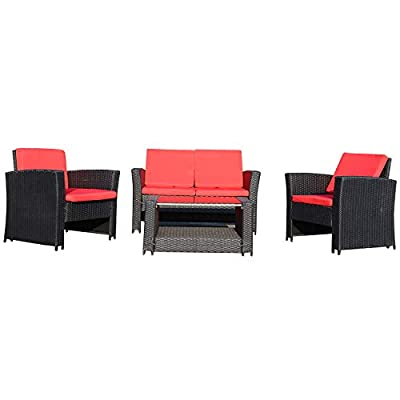 Caymus Patio Furniture Sets Outdoor 4 Pieces Conversation Sets Rattan Wicker Chair with Table Backyard Lawn Porch Garden Poolside Balcony Furniture All Weather Deep Seating (Red)