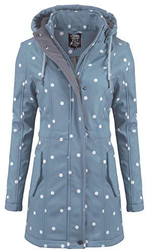 ODYSSEE / New View Damen Softshell Mantel gepunktet Parka Jacke Kapuze Outdoor Übergang, Farbe:hellblau, Größe:L