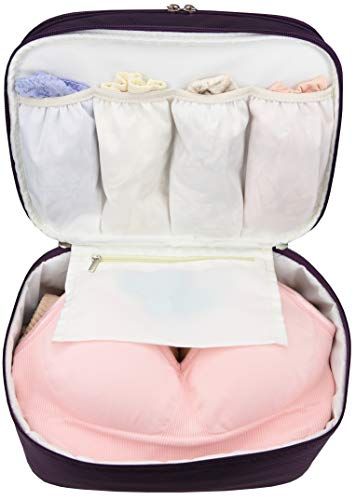 Travel Organizer Underwear Bag - Large Double Layer Packing Storage Bag - Fits Large Bra, Socks, Underpants, Cosmetic, Toiletry Kit (Purple)