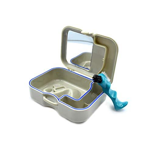 Zahnprothesen-Box, mit integriertem Spiegel und zusätzlicher Prothesenbürste, Tragbarer Koffer für unterwegs