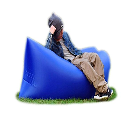 Trumpo gonfiabile Lazy lettino portatile sacco a pelo, per esterni ed interni Air Sleep - sofa Laybag divano letto, in nylon impermeabile pieghevole, poltrona per rilassarsi, estate, campeggio, spiaggia, pesca, Blue