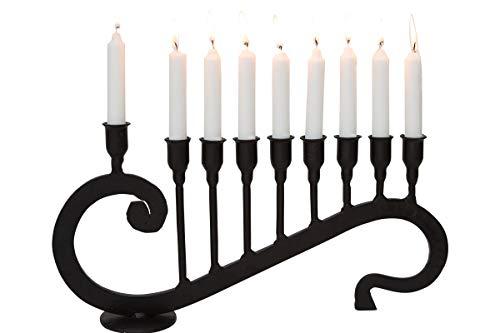 Marie Décor Blacksmith Handmade Iron 9 Branch Hanukkah Menorah Candle Holder - MD25004-B (Black)