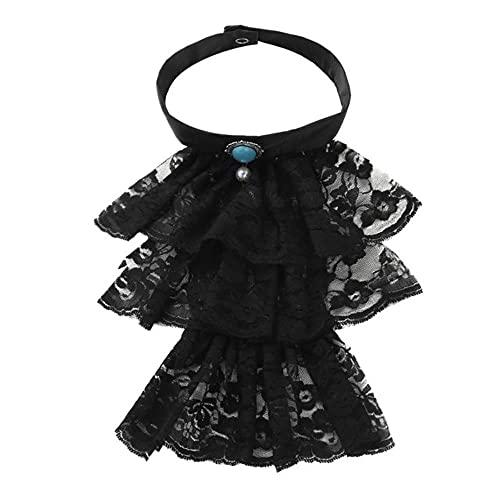Mujeres Hombres Desmontable Ruffled Lace Vintage Falso Collar Ex¨tico Falso Gargantilla Clubwear Steampunk Collar-Negro