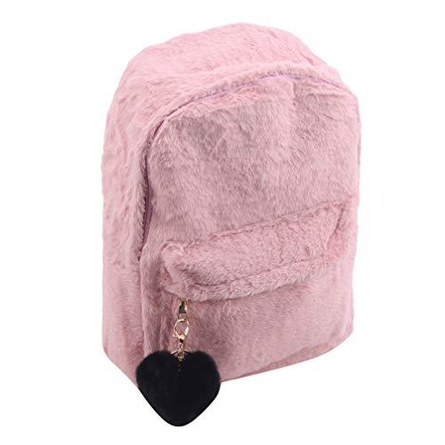 LoveAloe Frauen Weichen Rucksack Plüsch Umhängetasche Flauschige Schultasche Mit Herzanhänger,Rosa