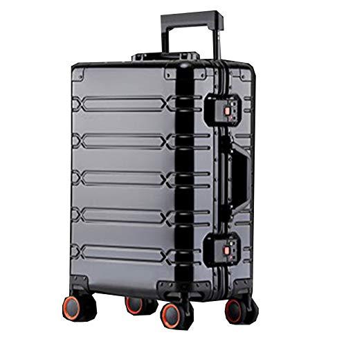 Full Aluminum Magnesium Alloy Trolley Case Universal Wheel Aluminum Alloy Suitcase Female 24 Metal Box Password Check-in Case Hard Box,Black-29Inch