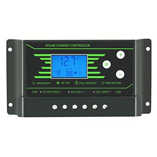 Morninganswer Controlador de Carga Solar 30A PWM 12V 24V LCD retroiluminado Controlador regulador Solar de 30 amperios con Cargador Dual USB 5V