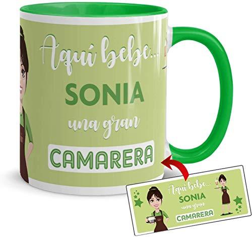 Kembilove Taza Desayuno – Tazas Personalizadas con Nombre de Profesiones – Tazas Originales para Regalar – Taza Café Aquí Bebe una Camarera – Regalos Originales
