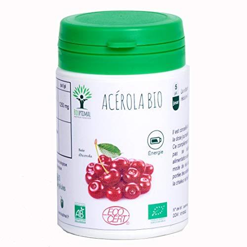 Acerola Bio - Bioptimal - Complément Alimentaire - Energie - Vitamine C - Gélule Acerola - Made in France - Certfié Ecocert - 60 gélules