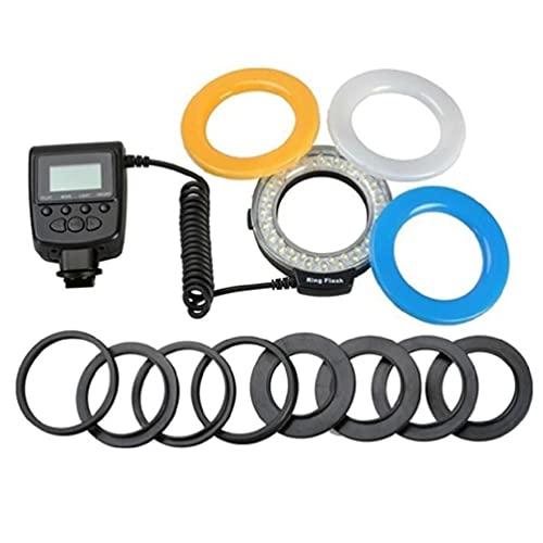 unknows HD-130 Macro LED Ring Flash Bundle DSLR Kit Flash ad Anello per Fotocamera Pentax Flash Light con Anello Adattatore