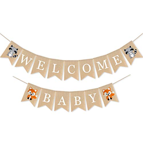 Woodland Welcome Baby Burlap Banner, Fox Welcome Baby Banner Woodland Creatures Banner Fawn Forest Animal Friends Garland for Baby Shower Party Supplies Decorations