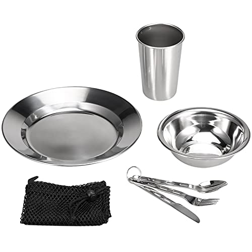 Serving Tray 7PCS Stainless Steel Cookware Outdoor Camping Tableware Dinner Plate Bowl Cup Spoon Fork with Mesh Bag for Hiking Picnic (Color : 7 pcs Set)