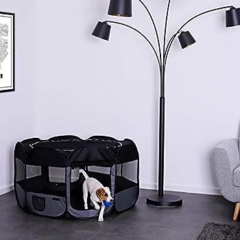 lionto by dibea Parc pour chiots en tissu Oxford enclos extérieur pour animaux enclos pliable pour chiens chiots noir/gris